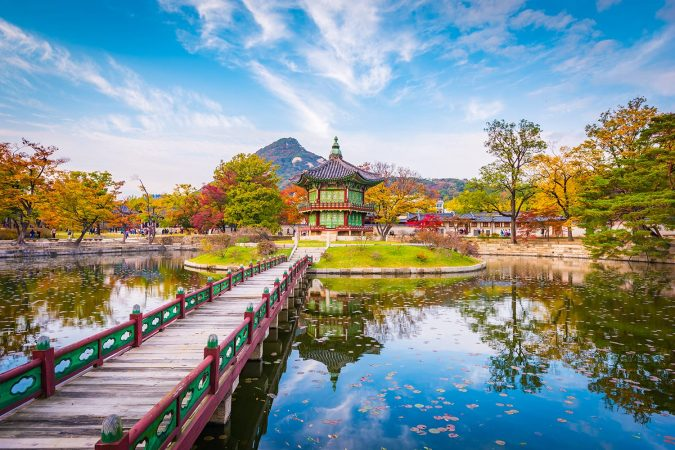 Autumn of Gyeongbokgung Palace in Seoul, South Korea.