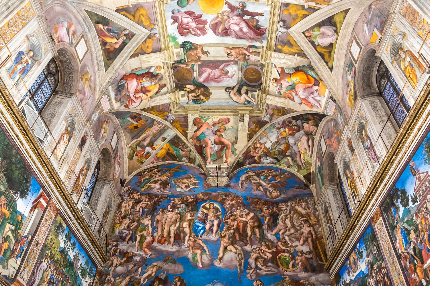 Ceiling of the Sistine chapel in the Vatican museum in Vatican, Rome, Italy