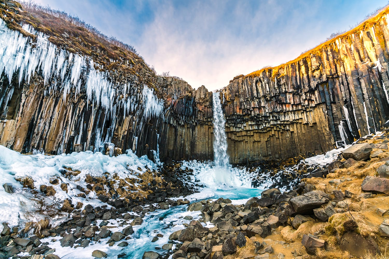 Svartifoss Waterfall in Skaftafell National Park, Iceland