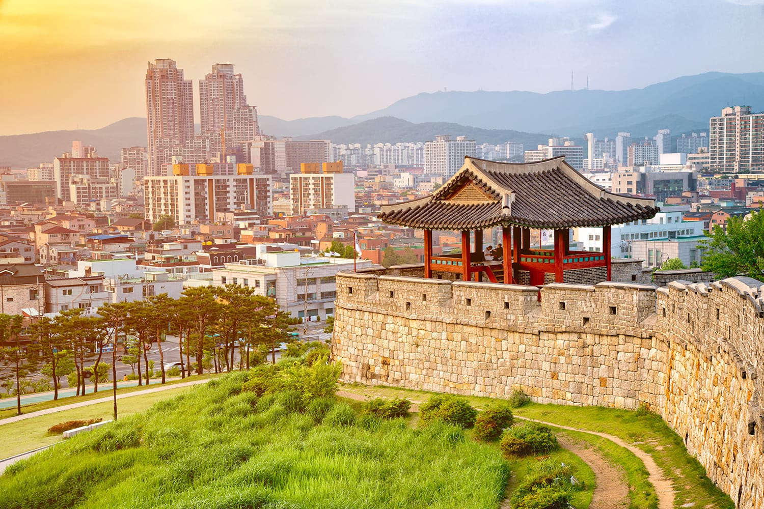 Hwaseong is a fortress of the Joseon Dynasty that surrounds the centre of Suwon City, South Korea