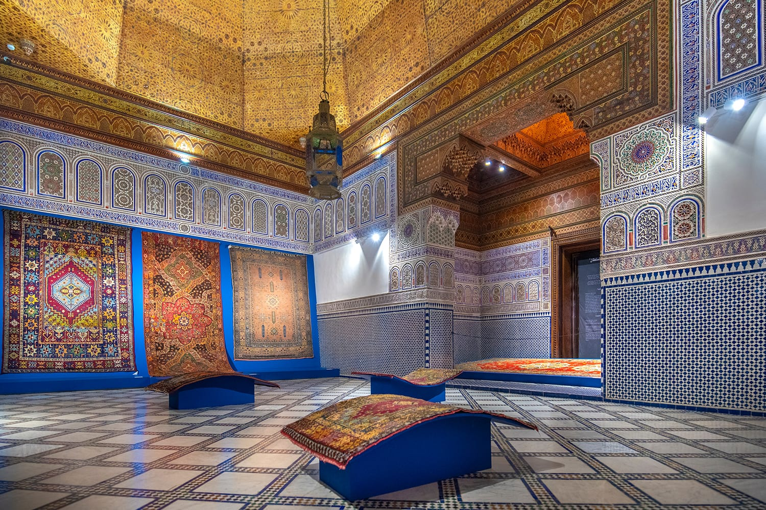Interior of Dar Si Said - Museum of Moroccan Arts, Crafts, Carpets and Weaving in Marrakech, Morocco