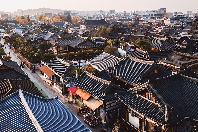 Aerial view of Jeonju Hanok Village, South Korea