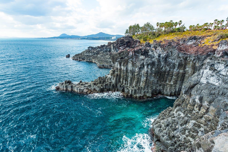 Jungmun Daepo Coast Jusangjeolli Cliff in Jeju island, South Korea.