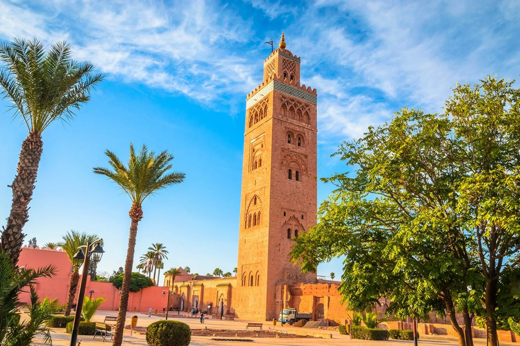 Koutoubia Mosque minaret in old medina of Marrakech, Morocco