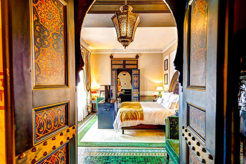 Interior of a suite at La Mamounia resort in Marrakech Morocco
