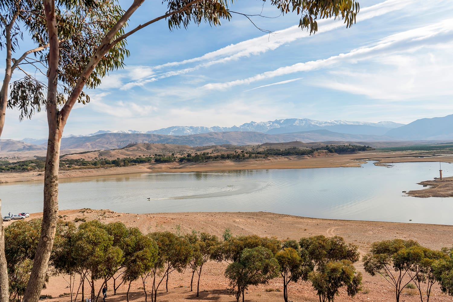 Lalla Takerkoust Lake and Atlas Mountains south from Marrakech, Morocco
