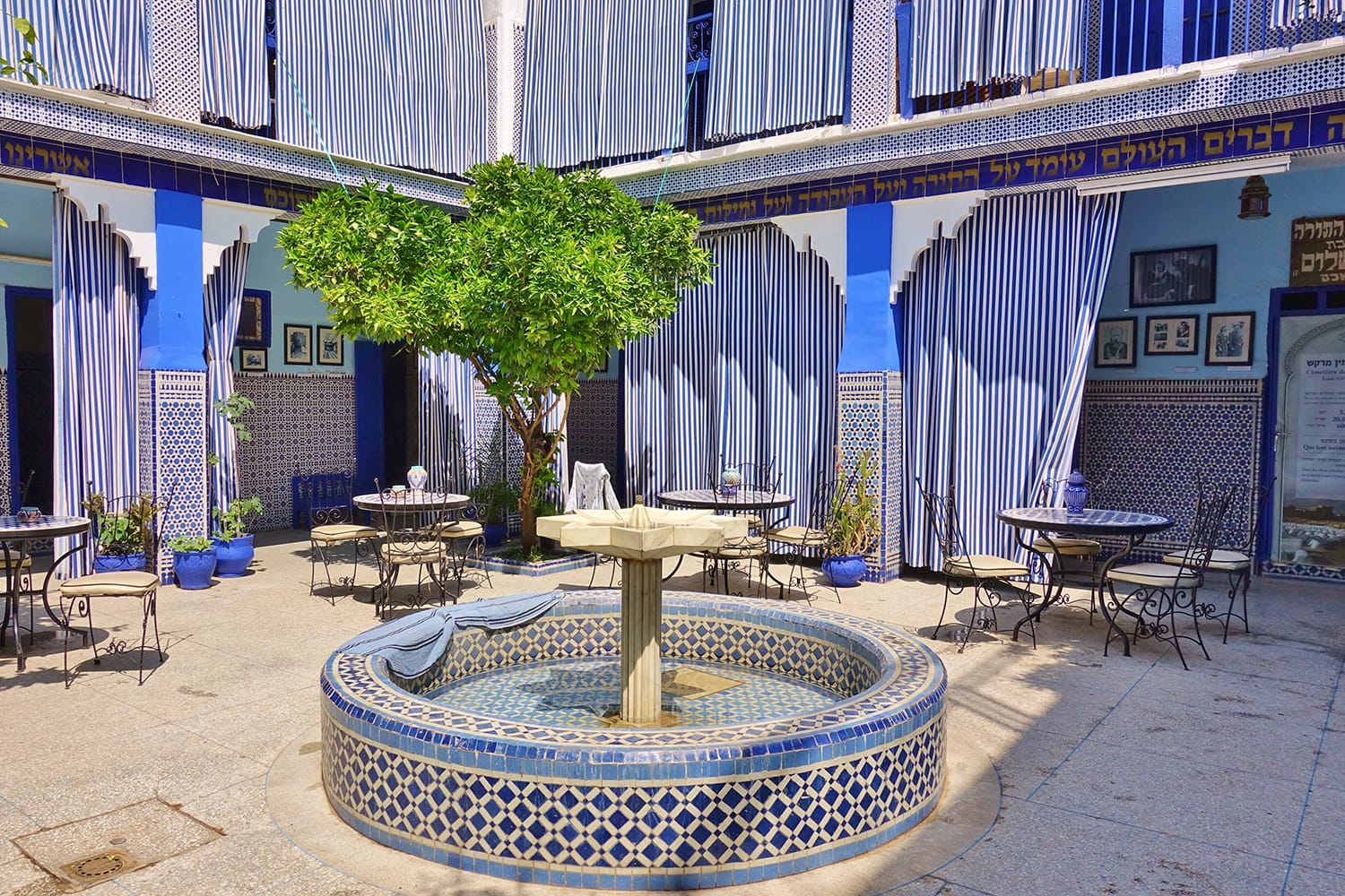 View of the blue Lazama Synagogue (Slat Al Azama) located in the Jewish Quarter in Marrakesh, Morocco.