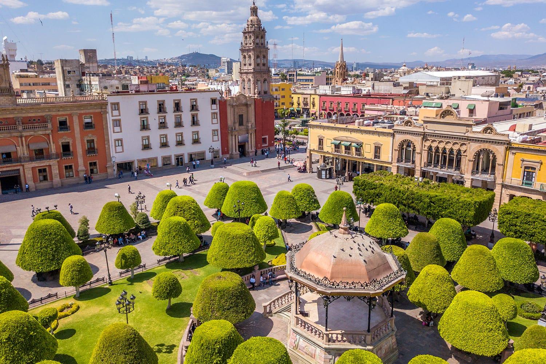Main square in the center of Leon, Guanajuato, Mexico