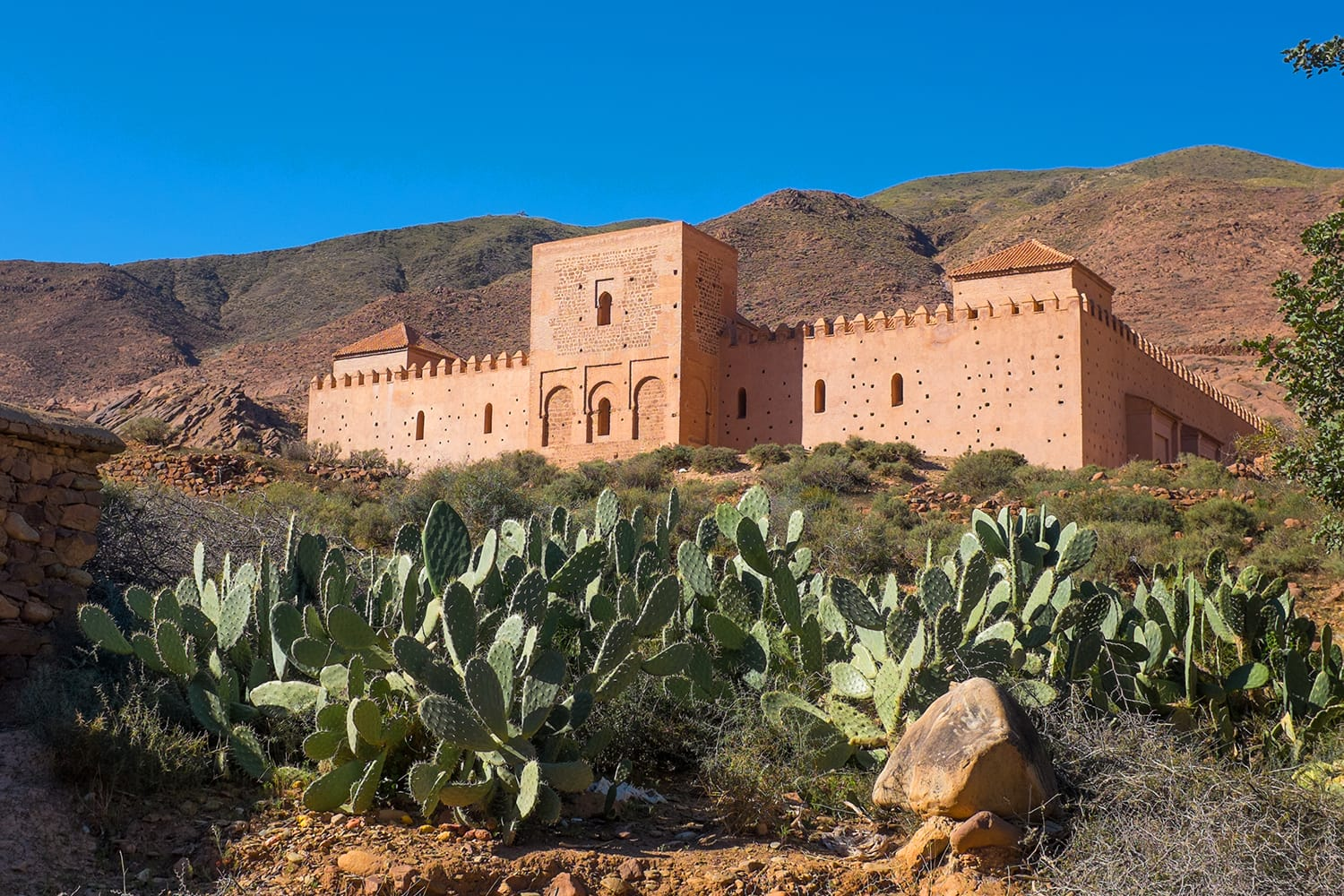 View at Hill with Old Almohad Tin Mal Mosque in Morocco