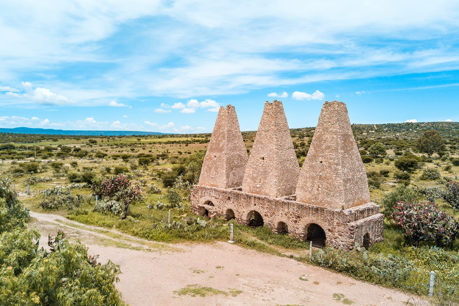 Abandoned ruins of old mining estates at Mineral de Pozos in Guanajuato, Mexico