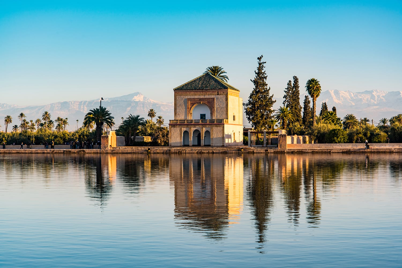 Saadian pavilion, Menara gardens and Atlas in Marrakech, Morocco