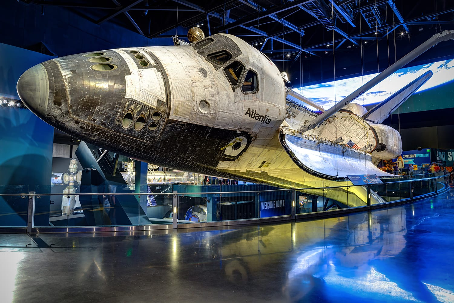 Space Shuttle Atlantis which is exhibited at the visitor complex of Kennedy Space Center, Florida, United States