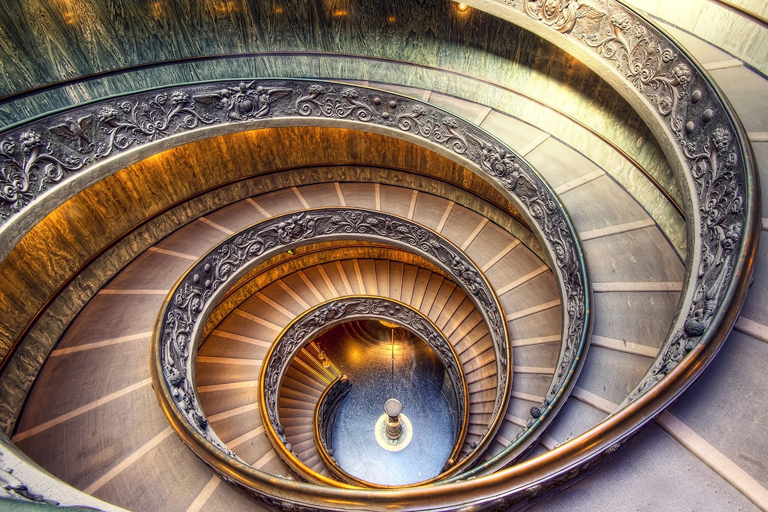Staircase at the Vatican Museum in Rome, Italy