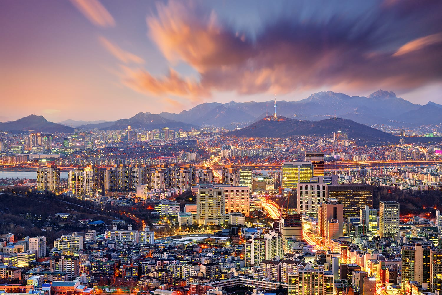 Sunset view of Seoul in South Korea