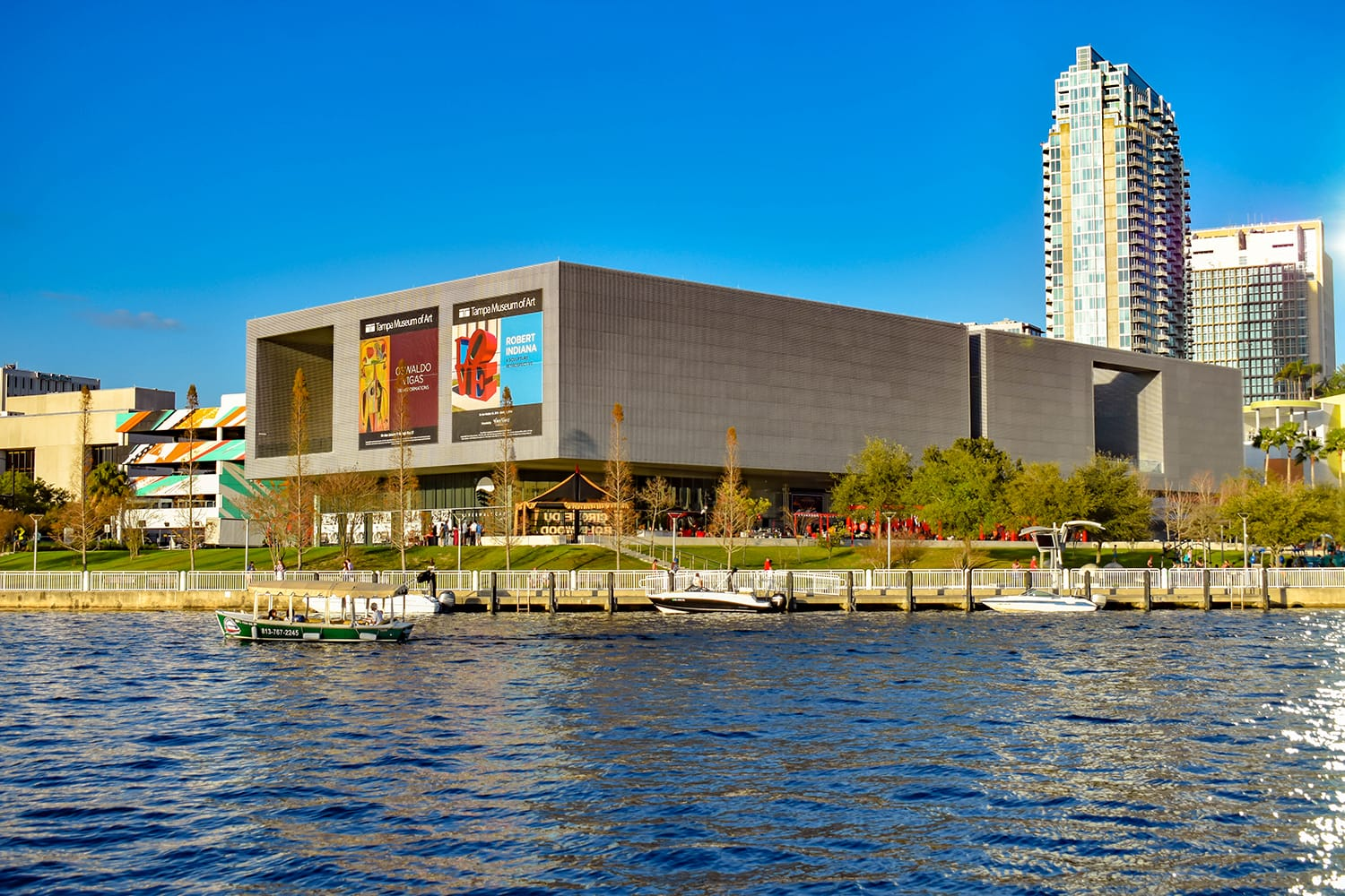Tampa Museum of Art and skyscrapers over the Hillsborough river coast in downtown area