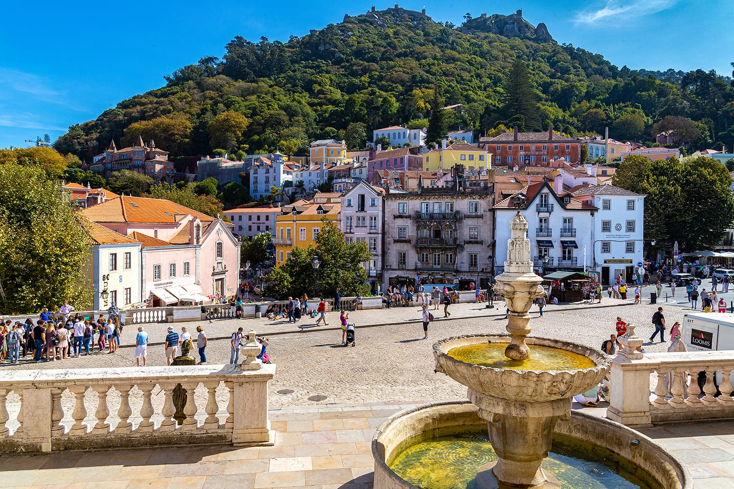 Historic center of the city of Sintra, in Portugal, seen from the balcony of the National Palace of Sintra, former residence of the royal family