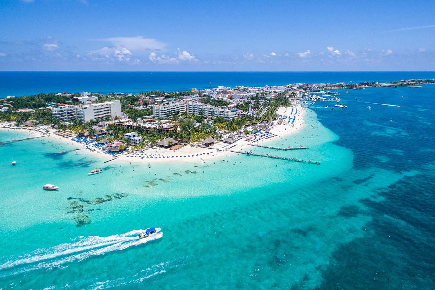 Aerial shot of Playa Norte at Isla Mujeres, island located near Cancun, Mexico