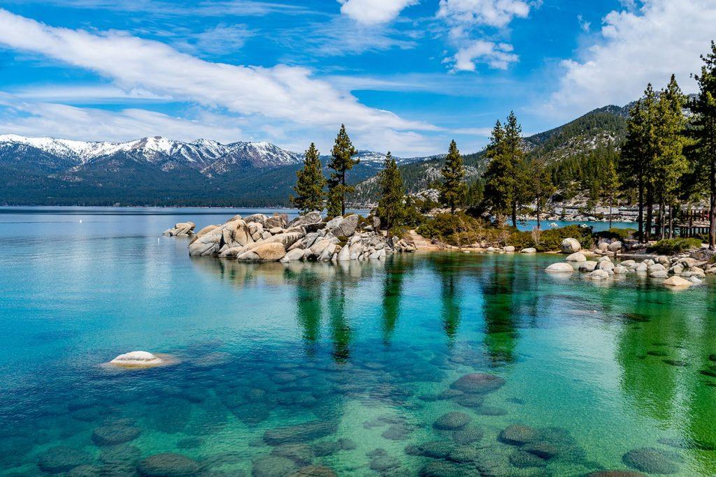 The beautiful crystal clear waters of Lake Tahoe, California, USA