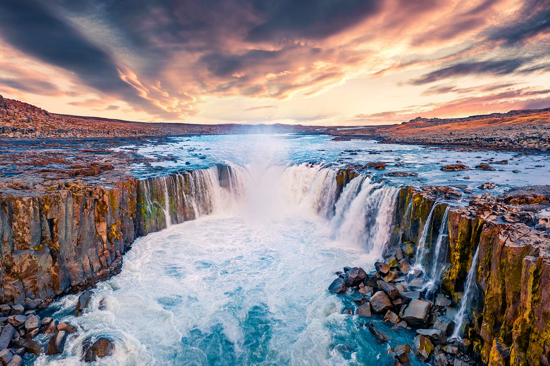 Sunrise over Selfoss Waterfall in Iceland