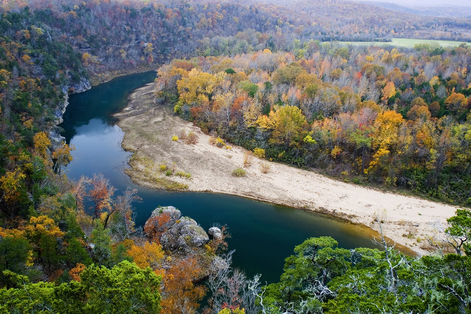 Late fall colors from atop the Tie Slide overlook, Buffalo National River, Arkansas