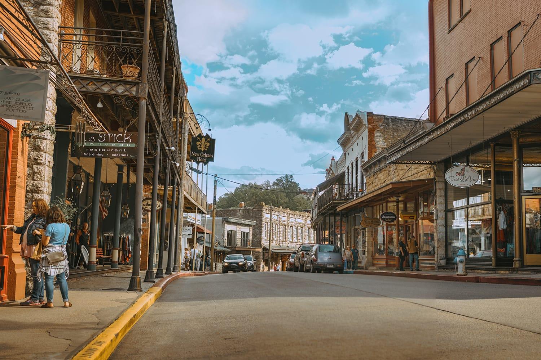 Beautiful street view downtown Eureka Springs, Arkansas, USA