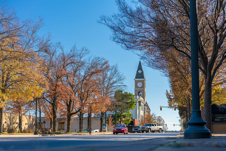 Downtown Fayetteville in Arkansas, USA