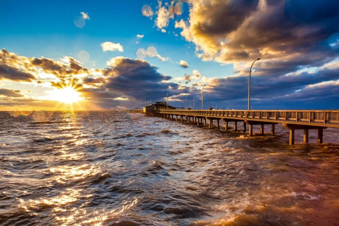 Ocean sunset at Fairhope, Alabama