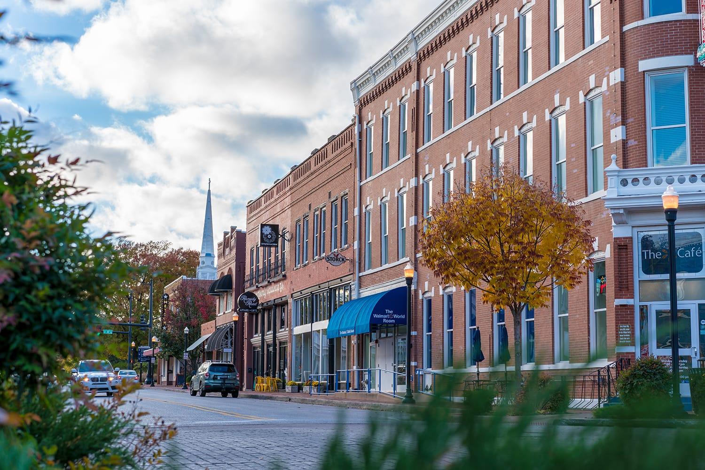 View of Walmart Museum downtown Bentonville, Northwest Arkansas