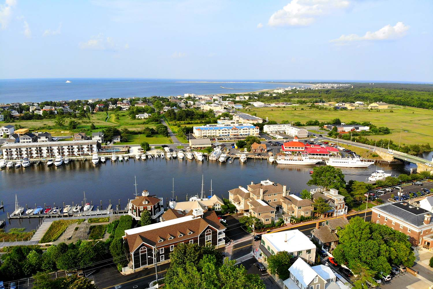 Aerial view of Lewes, Delaware, USA