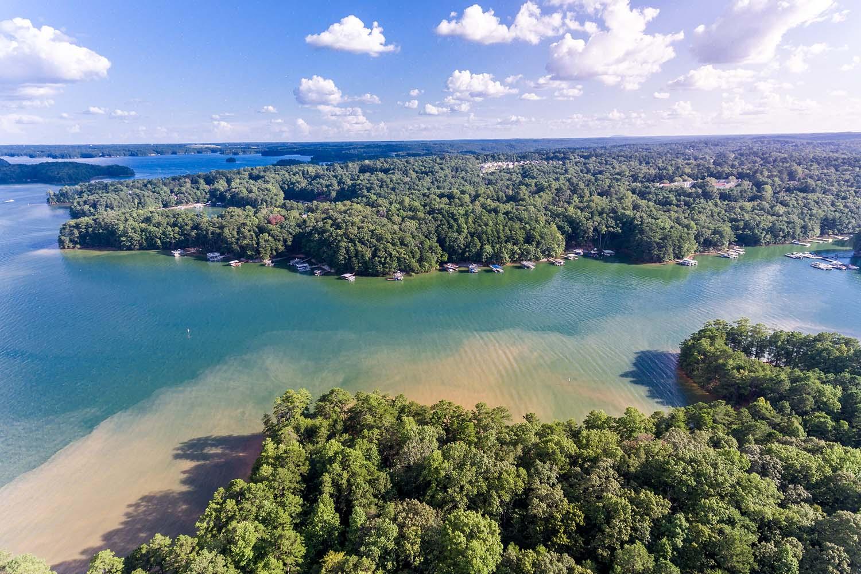 Aerial view of houses in Lake Lanier, Georgia, USA