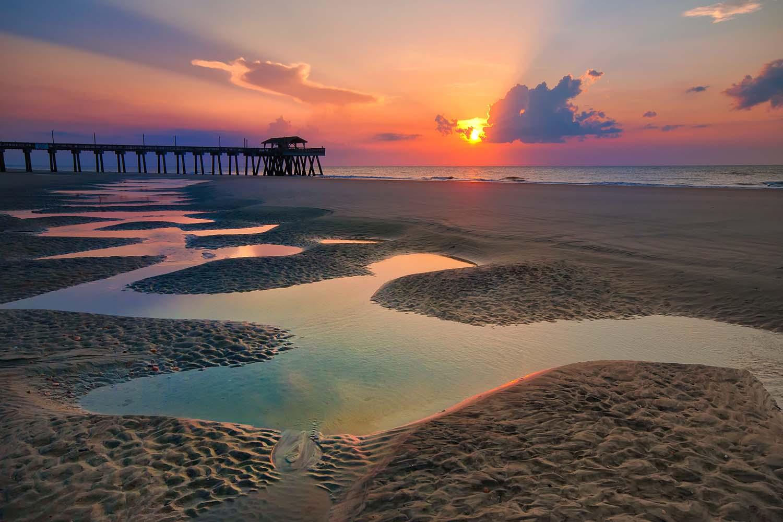 Sunrise over Tybee Island in Georgia, USA