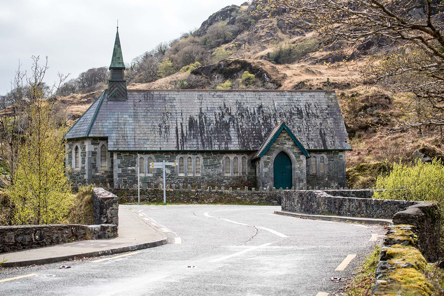 Abandoned Derrycunihy Church at Ladies View in Killarney National Park, Ireland