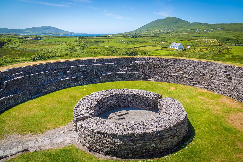 The old Cahergall Stone Fort near Cahersiveen, Ireland