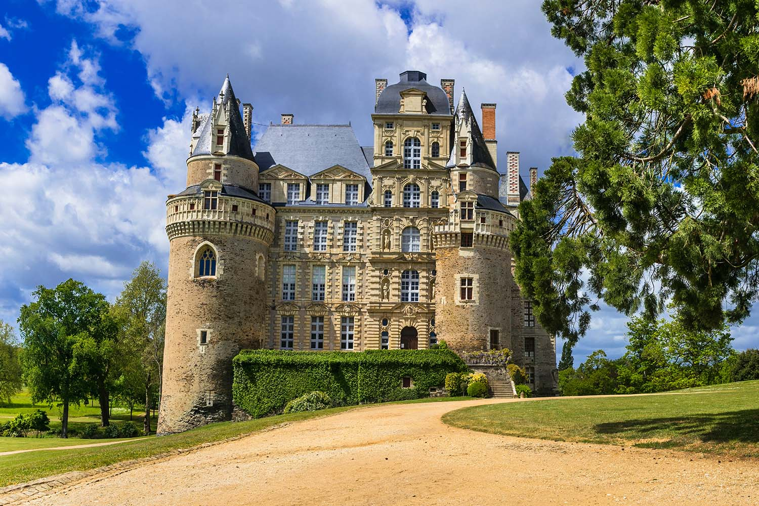 One of the most beautiful and mysterious castles of France - Chateau de Brissac, famous castles of Loire valley