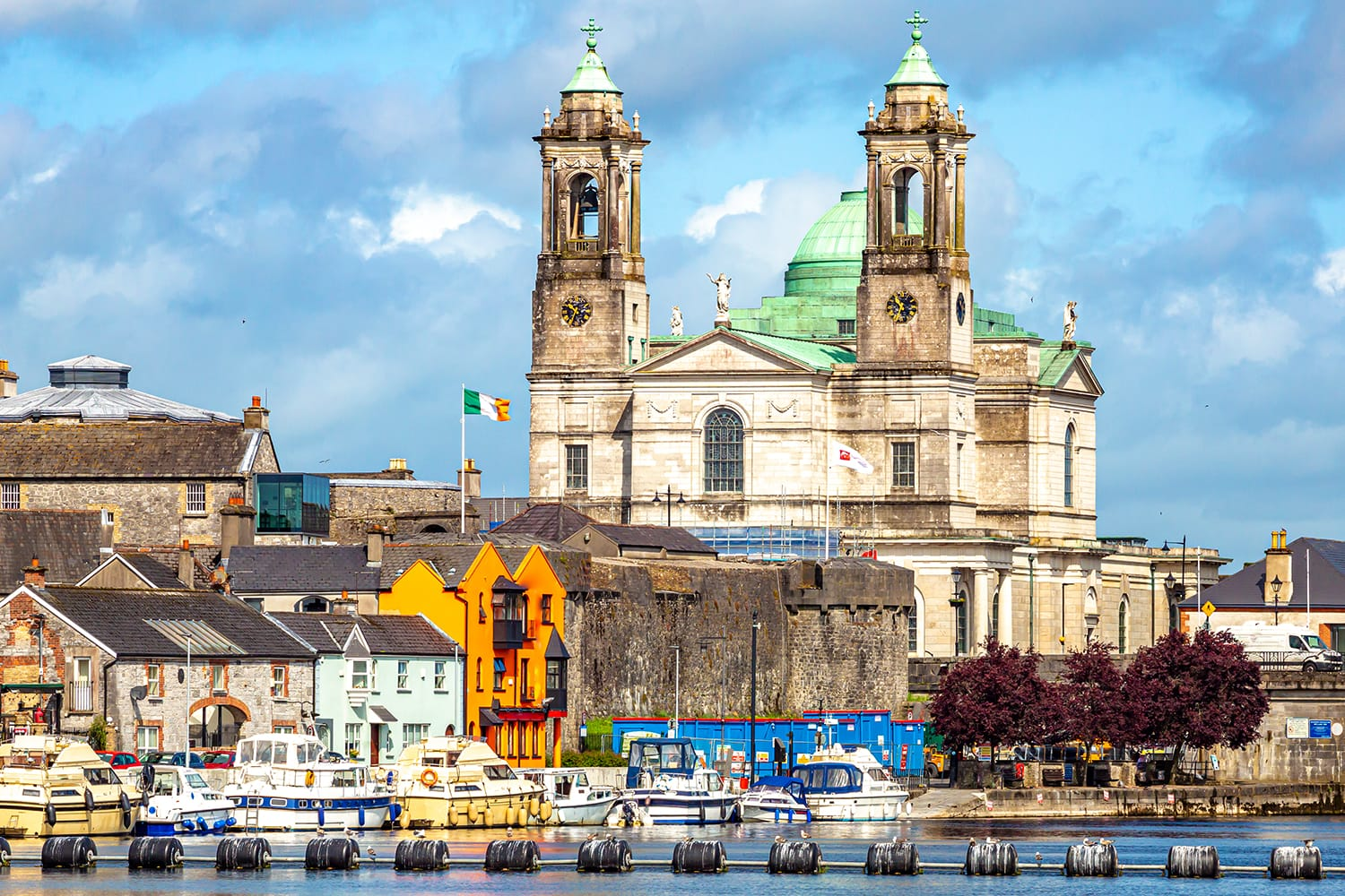 Beautiful view of the parish church of Ss. Peter and Paul and the castle in the town of Athlone next to the river Shannon