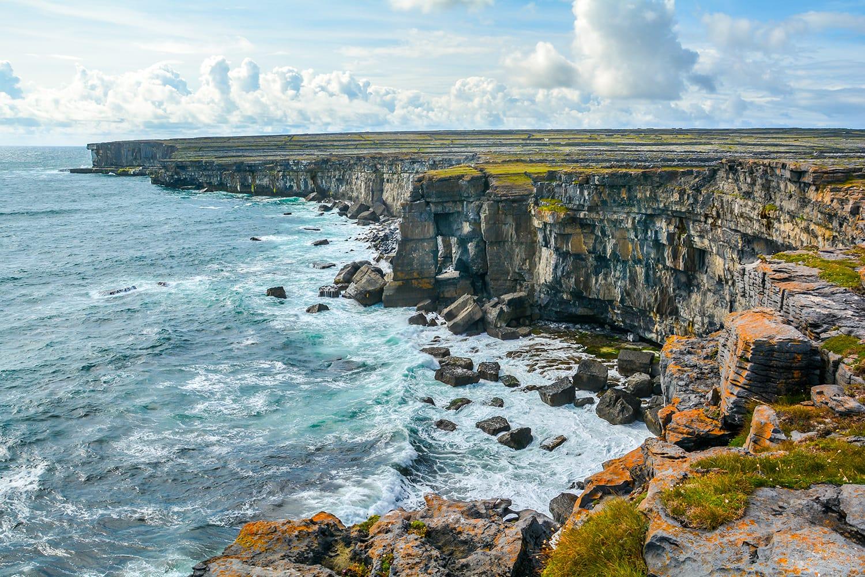 The scenic cliffs of Inishmore, Aran Islands, Ireland.