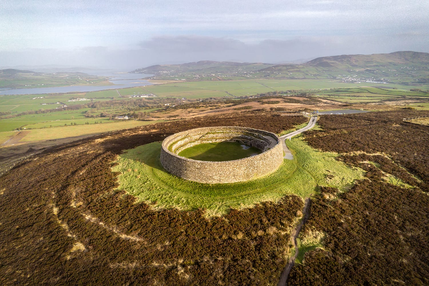 This is Grianan Of Aileach. It is a stone ring fort in Donegal Ireland just out side of the City of Derry
