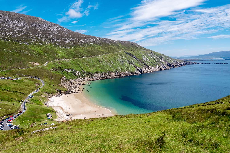 View on Keem beach and bay, county Mayo, Achill island, Ireland.