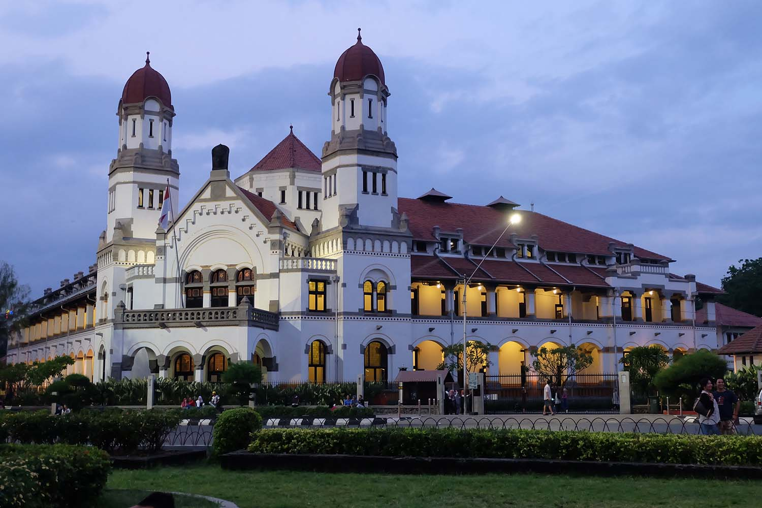 Colonial building at sunset time in Semarang city, Central Java, Indonesia.